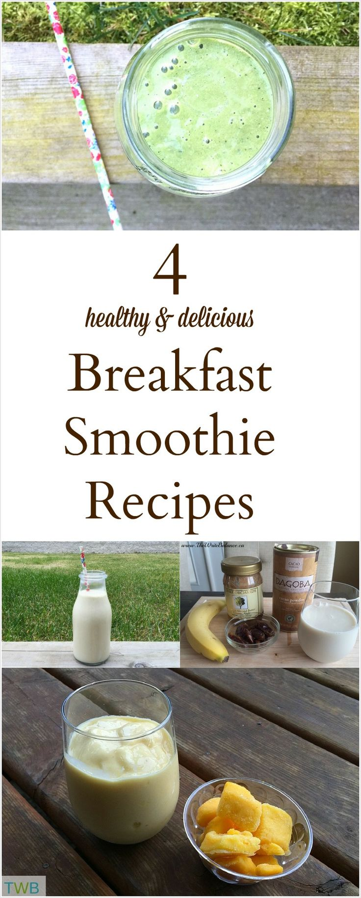 4 Awesome Breakfast Smoothies to try (healthy recipes, breakfast recipes)