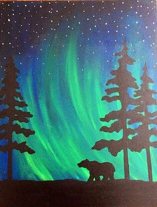 northern lights bear silhouette painting inspiration for face painting