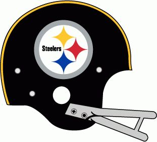 Pittsburgh Steelers Helmet Logo (1963) - Black helmet, yellow stripe, Steelers logo with grey facemask