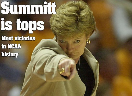 Pat Summitt is the all-time winningest coach in NCAA basketball history of either a men's or women's team in any division. She has been coaching since 1974, all with the Lady Vols, winning eight NCAA national championships, second only to the record 10 titles won by UCLA men's coach John Wooden.