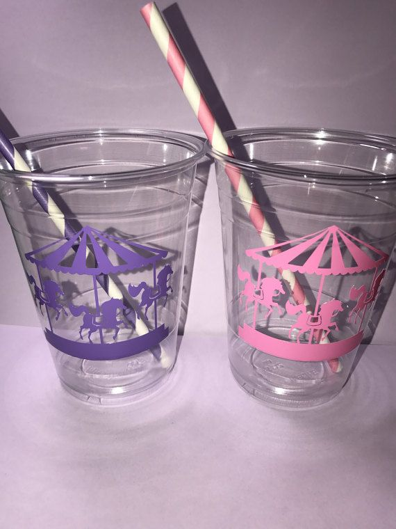 carousel birthday, carousel party favors, carousel birthday party, carousel, kids party favors, girls birthday, plastic cups with lids