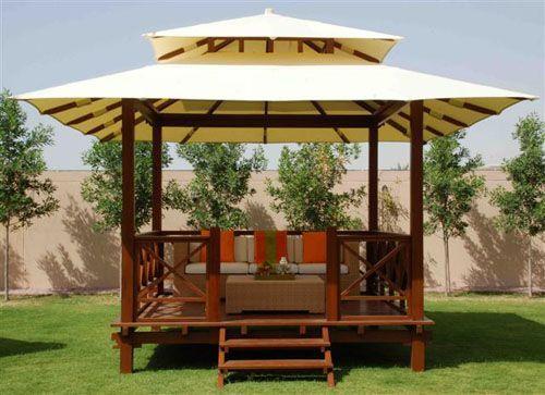 Tropical Wooden Gazebo Design With Rattan Furniture Lanewstalk