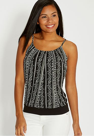 the patterned chiffon front tank (original price, $24) available at #Maurices