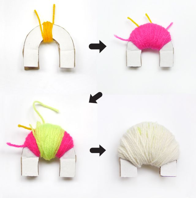 DIY pompom maker! Download template at http://www.homemade-gifts-made-easy.com/how-to-make-pom-poms.html