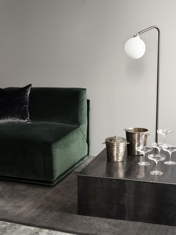 TDC: Rue Verte | Meridiani green velvet, Kube Iron Table & Array Floor Lamp