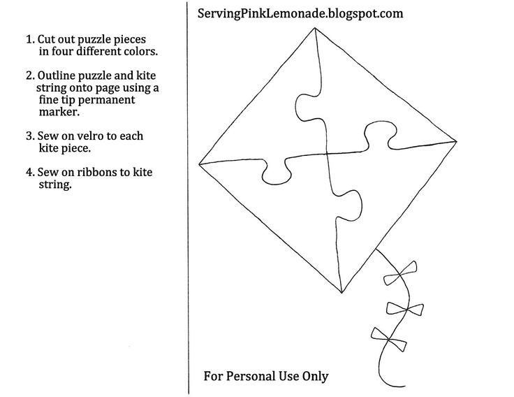 Kite Puzzle Quiet Book Template