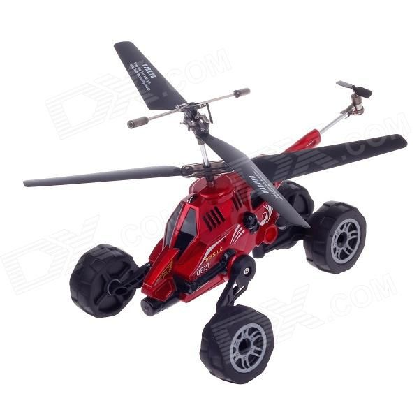UDIR/C U821 Mini 4-CH 3-In-1 IR Remote Control Helicopter w/ Gyro- Black + Red