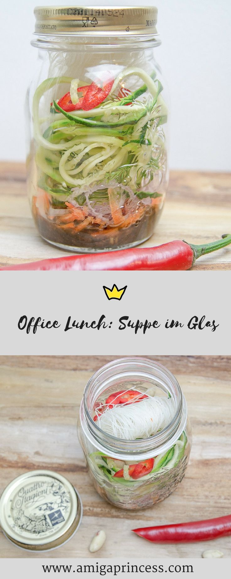 Suppe im Glas - easy office lunch, schnelles Essen ohne Herd und Mikrowelle, Soup in Mason Jar, Rezept, get the glow, Suppe thailändische Art, Foodblog, Foodphotography, www.amigaprincess.com