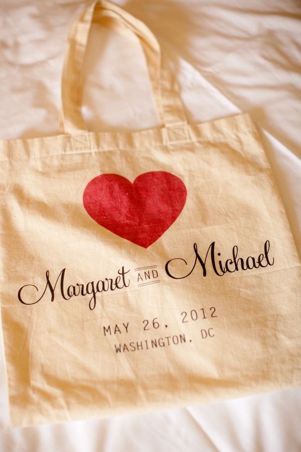 personalized tote bags as favors ~ from a A hot pink & green, modern DC wedding designed by Karson Butler Events, captured by Stephen Gosling Photography