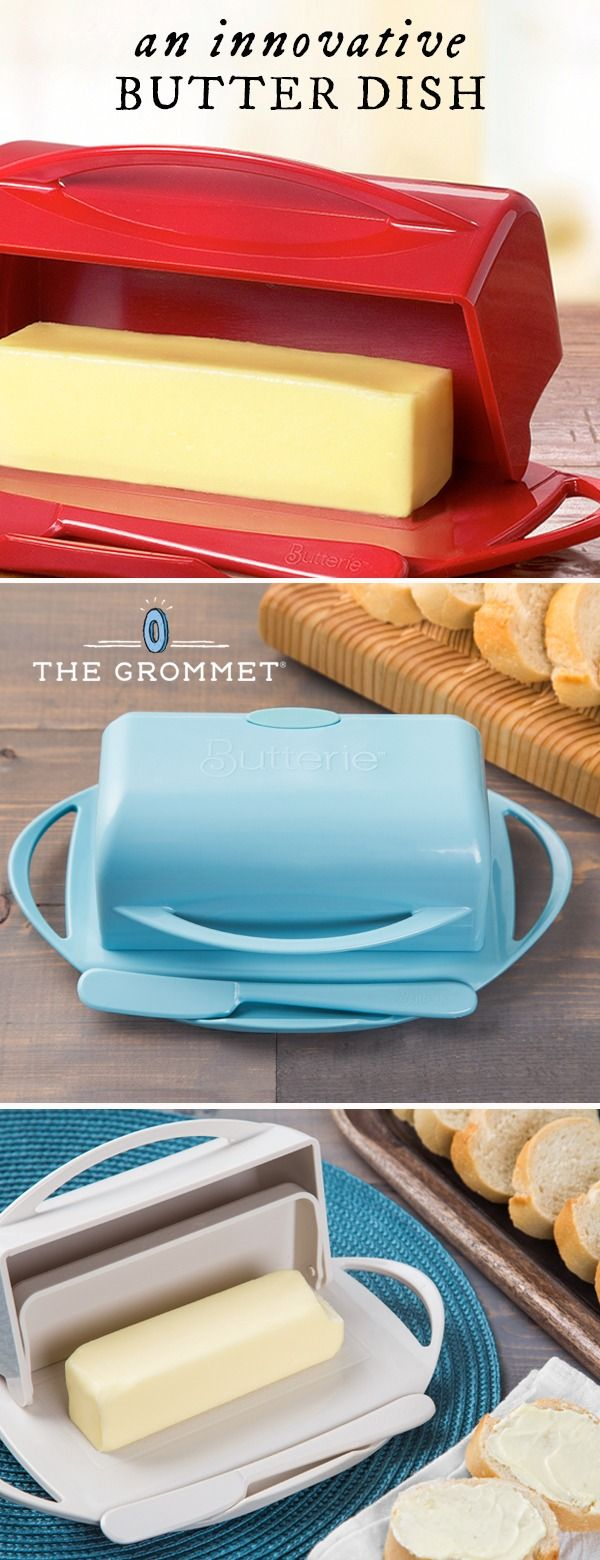 Keep fresh and spreadable butter in this flip-top dish. It stores on the counter, limits exposure to air and light, and has a spot to rest (and clean) your knife. Butter lovers need this.