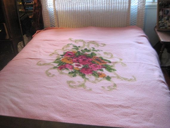 Double Bed Size Pretty Pink Blanket with by Daysgonebytreasures.  www.etsy.com/listing/160911051