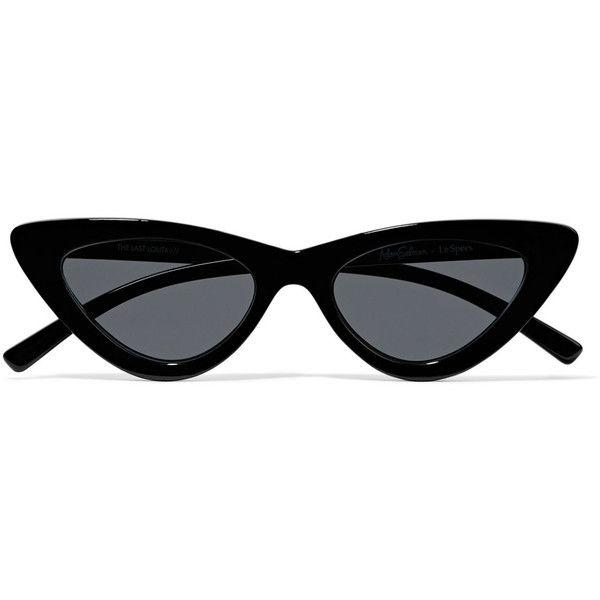 Le Specs+ Adam Selman The Last Lolita Cat-eye Acetate Sunglasses (380 RON) ❤ liked on Polyvore featuring accessories, eyewear, sunglasses, glasses, sunglasses/glasses, black, le specs, futuristic sunglasses, cateye sunglasses and polka dot sunglasses