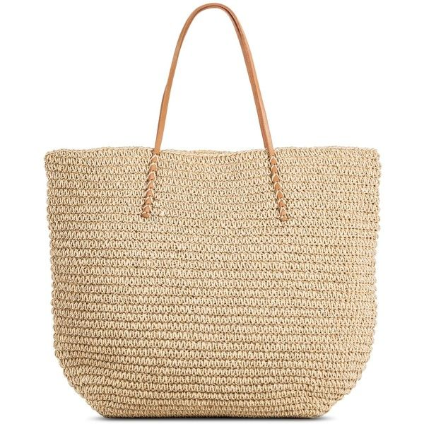 Women's Solid Packable Straw Tote Natural - Merona ($30) ❤ liked on Polyvore featuring bags, handbags, tote bags, straw tote beach bag, handbags totes, straw handbags, travel tote and travel purse