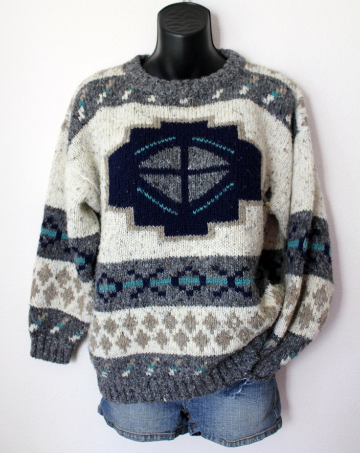 Knit Grandpa Lodge Sweater Native aztec Jumper