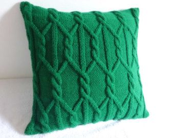 Custom Cable Knit Pillow Cover Throw Pillow Hand by Adorablewares