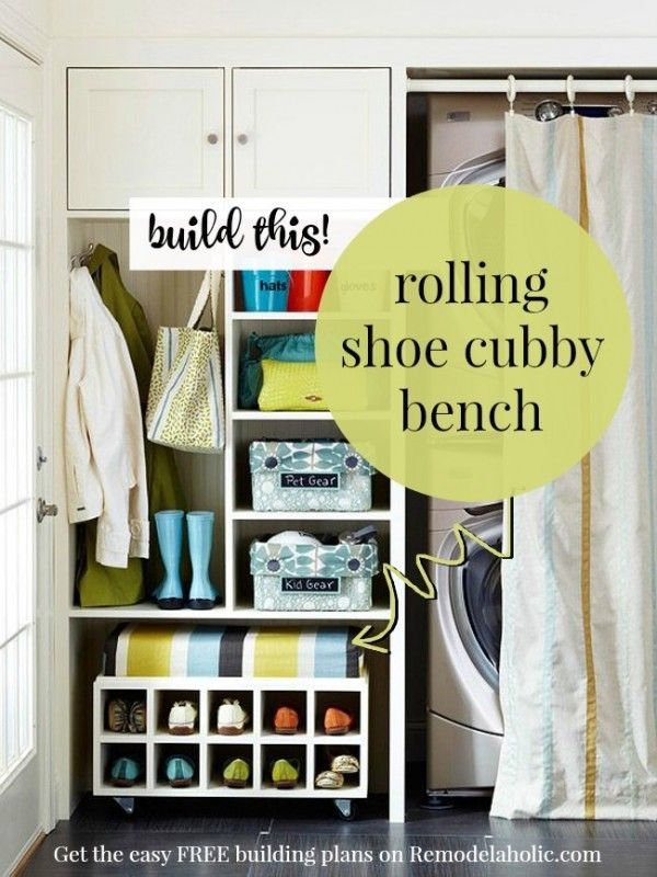 Free building plan for that great rolling shoe cubby bench @Remodelaholic