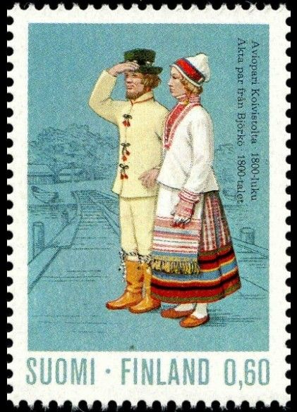 The Koivisto dresses, marriage couple from 19th century | Finnish stamp 1973 - Aviopari Koivistosta 1800-luku
