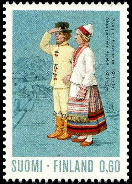 The Koivisto dresses, marriage couple from 19th century | Finnish stamp 1973 - Aviopari Koivistosta 1800-luku