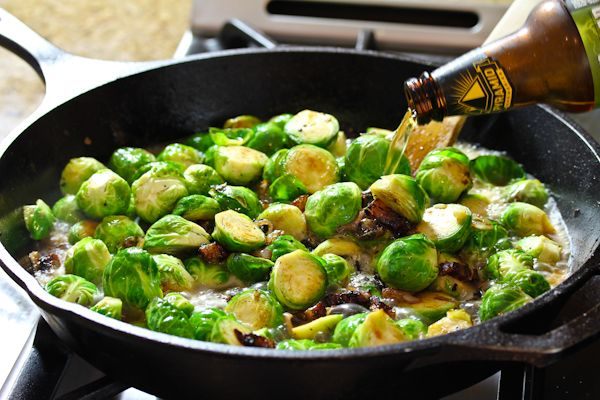Brussels Sprouts, Bacon, and Beer... Is it possible that there's anything more delicious sounding in the whole world?  Seriously, I think I would take that over ice cream!