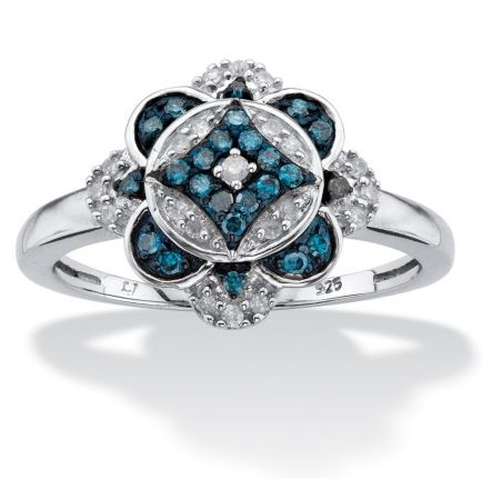 Bague au motif de fleur fait de diamants blancs et bleus – Bijoux L'escargot