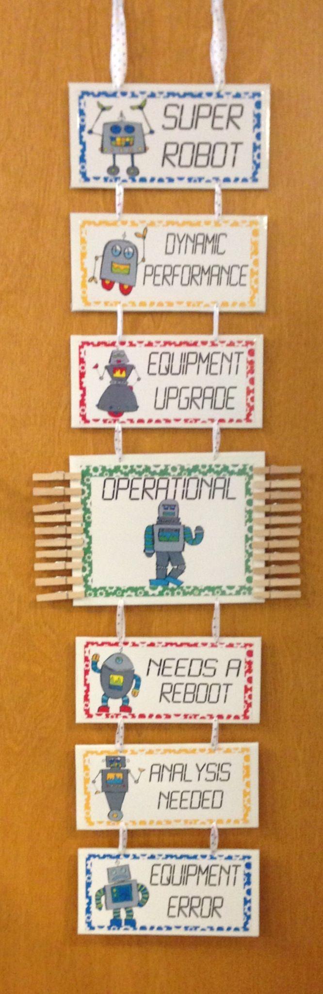 A robot version of my classroom behavior clip chart.