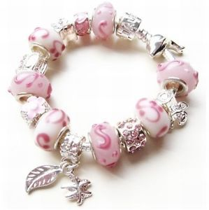 White Pink Lampwork Angel Handbag Starfish Dangle Flower Girl Charm Bracelet | eBay