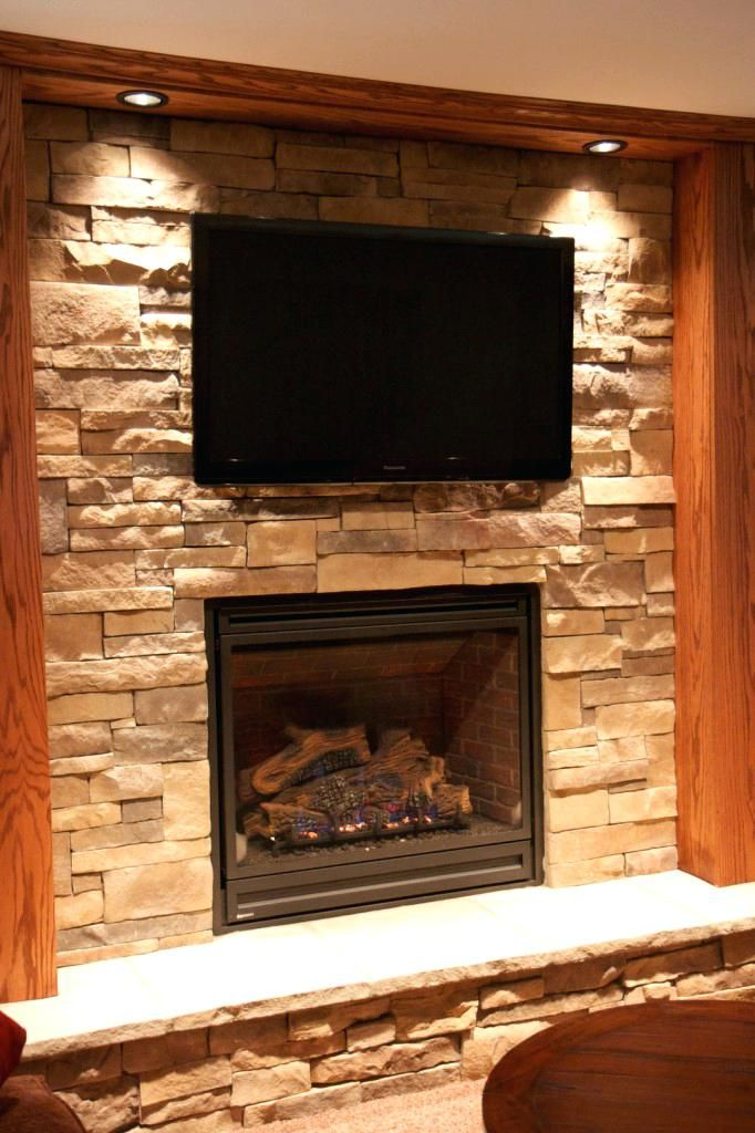 Stone Fireplace Wall With Tv Stone Fireplace Tv Ideas Stacked