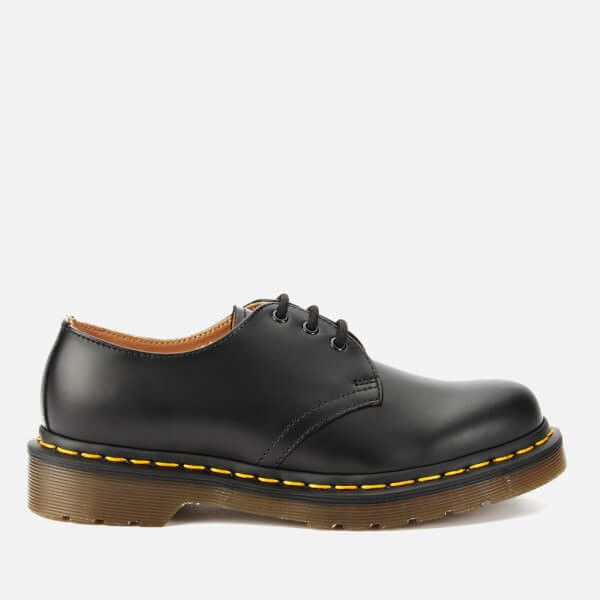 Dr. Martens Originals 1461 3-Eye Smooth Leather Gibson Shoes - Black ($130) ❤ liked on Polyvore featuring shoes, oxfords, black, dr martens oxford, oxford shoes, black mid heel shoes, kohl shoes and balmoral oxfords