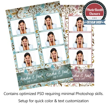 Romantic Vintage Floral 3-up Strips Photo Booth Templates. This photo booth templates whispers a soft romantic melody of vintage flowers and soft light. Each photo is framed with a thin border and appear to be held in place by 3 photo holders. Border and flower colors can easily be adjusted to compliment any event. The photo strip features 3 photos in a 3-up arrangement.