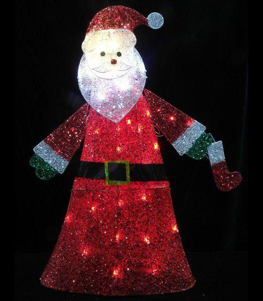pre lit clear led christmas santa glittering and twinkling christmas light express - Clear Led Christmas Lights