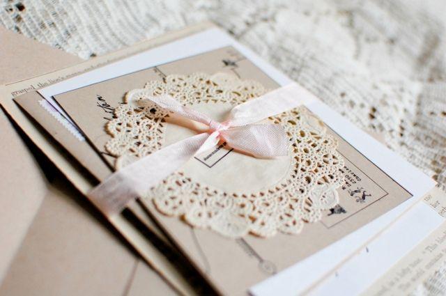 rosa Schleife Hochzeitskarte vintage Set Einladungen