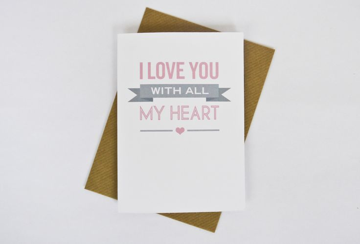 Image of 'I love you with all my heart' Valentine's card in pink
