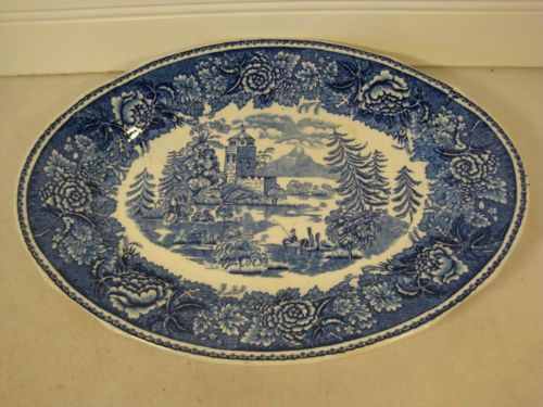 VINTAGE ARABIA OF FINLAND BLUE & WHITE OVAL PLATTER - STAFFORDSHIRE - CASTLE