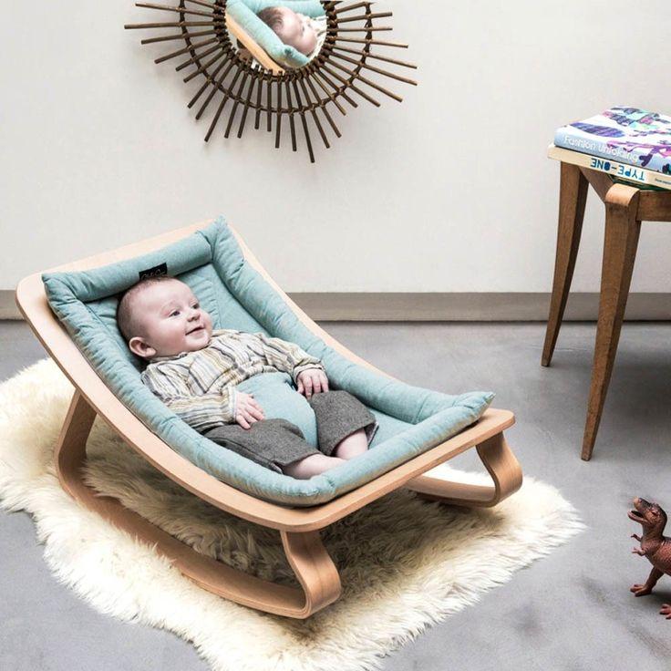 Babywippe aus Buchenholz – Grau Grau
