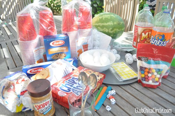 Minute to Win It games... gives you ideas including videos on how to do it, and supplies needed.  This is SO fun for kids!  We did it one year for my little man's b-day and the kids had a blast!  :)