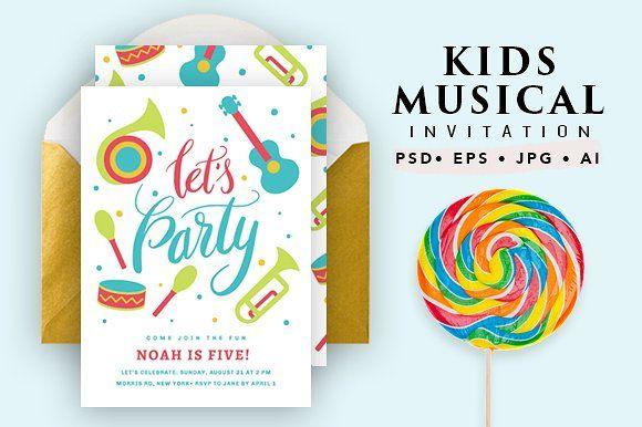 Printable Musical Birthday Card by Pixejoo on @creativemarket