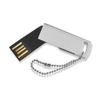 CHIAVE USB mod. MO1049 in sottile in plastica con meccanismo a rotazione e anello in metallo. USB 2.0. F.to 40 x 14 x 3 mm. Confezionata in scatola in cartoncino.