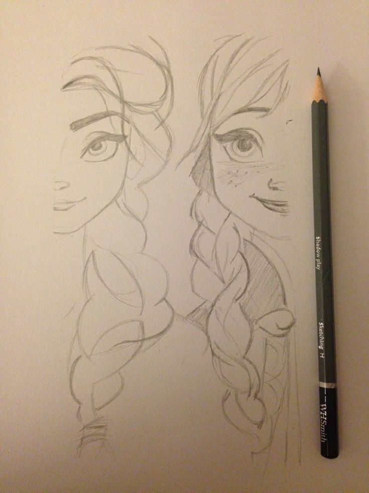 Frozen sisters. You could draw the where there hair is braided together. It would also need shading
