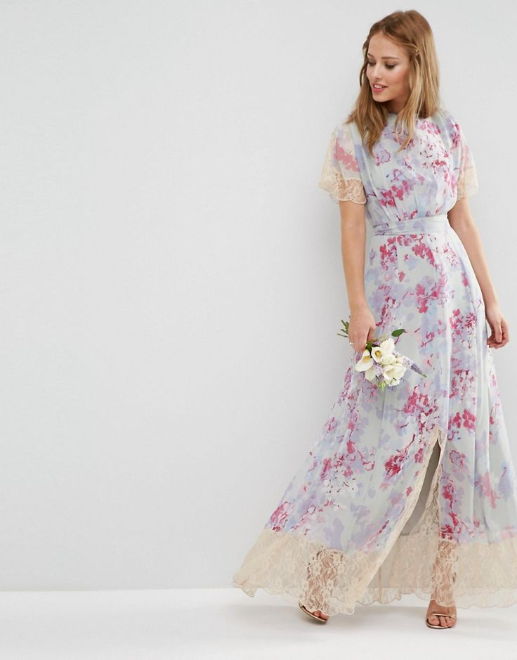 Image 1 of ASOS WEDDING Maxi Dress With Lace Detail in Print