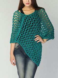 Hand knitted Little cotton poncho knit scarf knit shrug in Emerald Green
