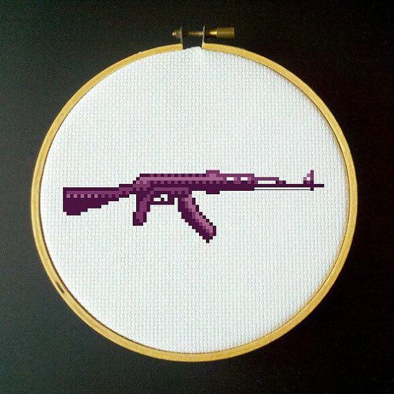 Purple AK47 Assault Rifle Cross Stitch PDF Pattern by LadyBeta, $3.00