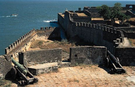 A Portuguese fort built in 1535 on the island of Diu, in Daman and Diu union territory, India.