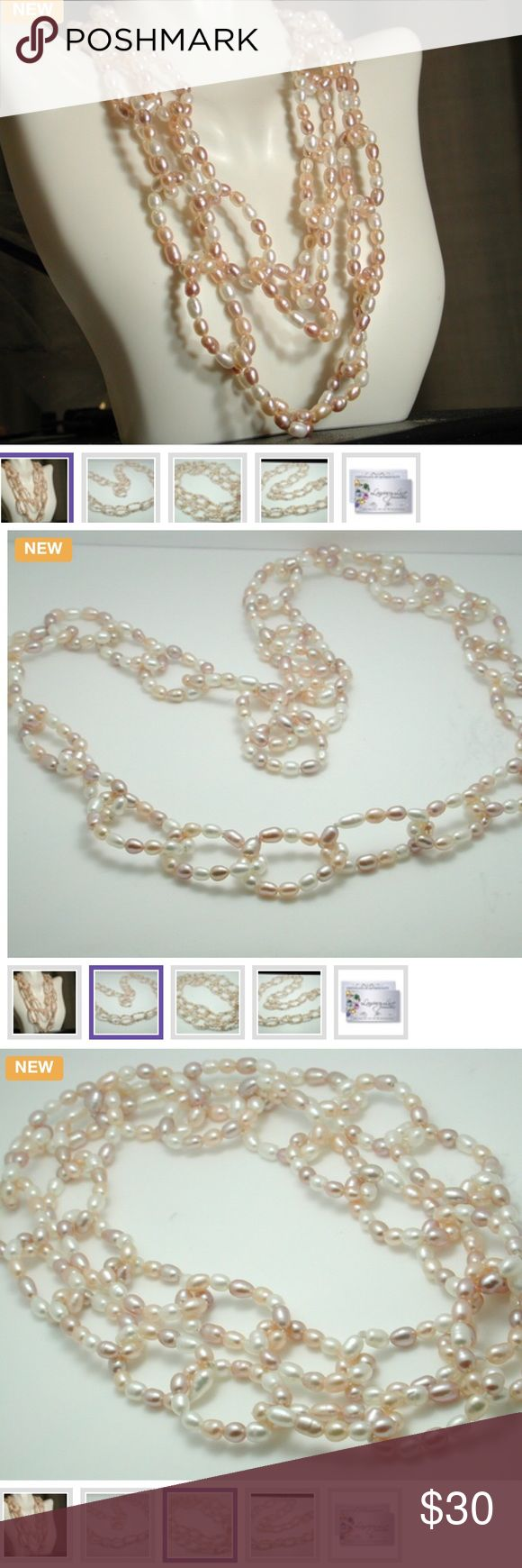 "Freshwater Pearls 34"" Lucien Piccard Necklace This beautiful necklace contains Cultured Cream Freshwater Pearls. The weight of this necklace is 64.9 grams. The necklace measures 35"" long. Don't Miss Out !!! Lucien Piccard Jewelry Necklaces"