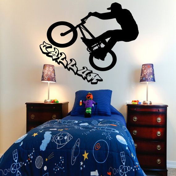 personalised bmx bike rider kids bedroom wall sticker by 10165 | 59d9283fad6ea2a4850d57808b089742 banksy wall stickers bedroom wall stickers
