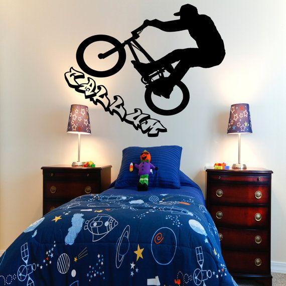 Personalised Bmx Bike Rider Kids Bedroom Wall Sticker By