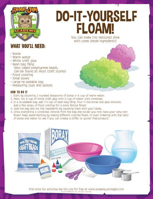 DIY Floam! Make this super fun and squishy craft with this free download from Animal Jam Academy! Have fun and PLAY WILD!