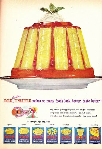 """Fancy Up Your Gelatin With Pineapple! , originally uploaded by Charm and Poise . Good Housekeeping, October 1956.   """"Dole Hawaiian Pineappl..."""