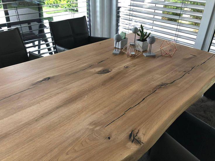 Tischplatte Eiche Massiv Geölt 160x80 Cm Mit Baumkante In