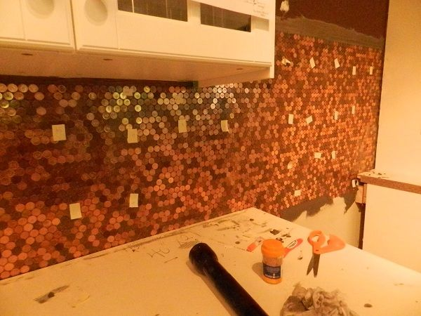 Penny Wall - After mortar and before grout 0 whatchaworkinon.com