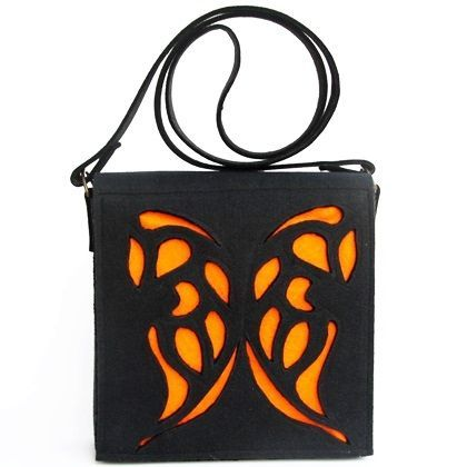 Black Bag with orange Butterfly